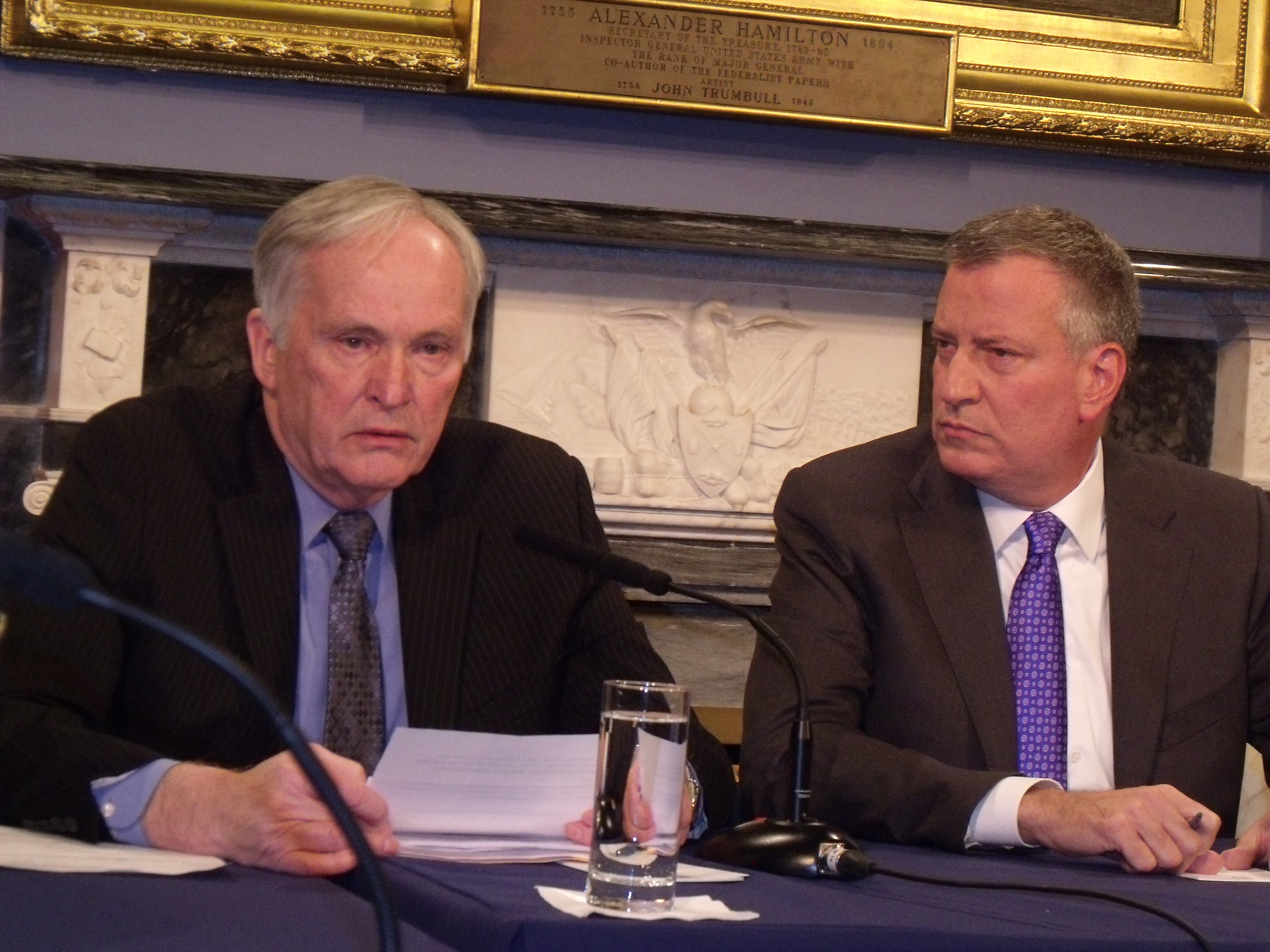 Correction Commissioner Joseph Ponte and Mayor Bill de Blasio at a roundtable discussion today. (Photo: Jillian Jorgensen)