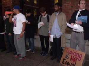Protesters outside Mr. Bratton's speech. (Photo: Jillian Jorgensen)