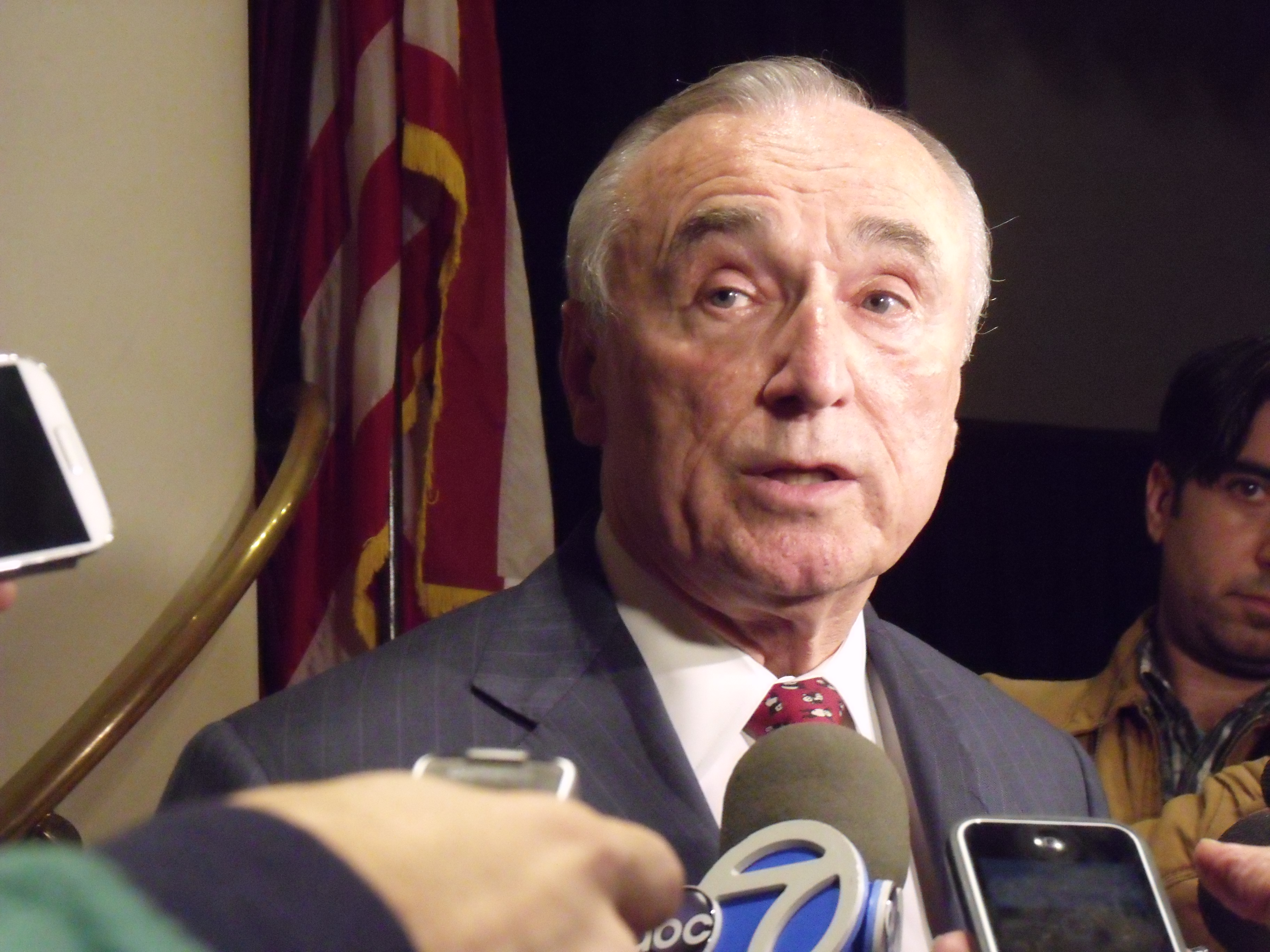 Police Commissioner Bill Bratton speaking to reporters tonight about a police shooting. (Photo: Jillian Jorgensen)