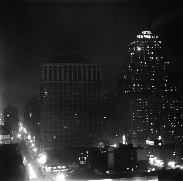 The Hotel New Yorker, at night. (Hotel archives)