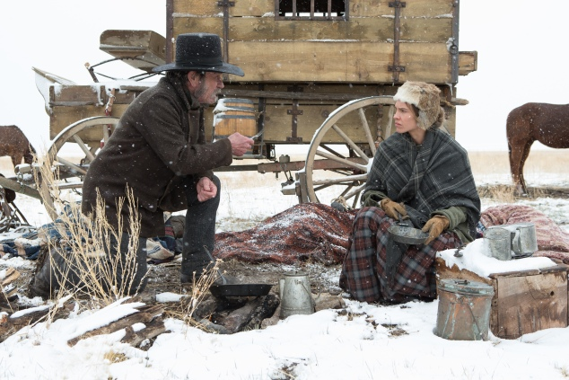 Tommy Lee Jones and Kieran Fitzgerald in The Homesman.