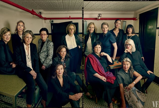 The most powerful female dealers, in the basement of The Odeon. (Photo by Annie Leibovitz, courtesy Vanity Fair)