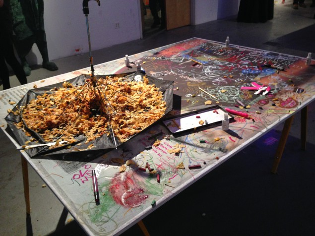 Nachos were served in an upturned $2 umbrella at the party. (Photo courtesy BFANYC.com)