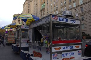 Dan Rossi's hot dog cart is one of many food carts which line the sidewalk outside the Metropolitan Museum of Art (Nicole Puglise/New York Observer).