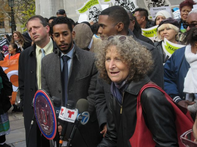 NYCLU Executive Director Donna Lieberman, right, speaks on the 'Right to Know' Act alongside Councilmen Ritchie Torres, Antonio Reynoso and Brad Lander.