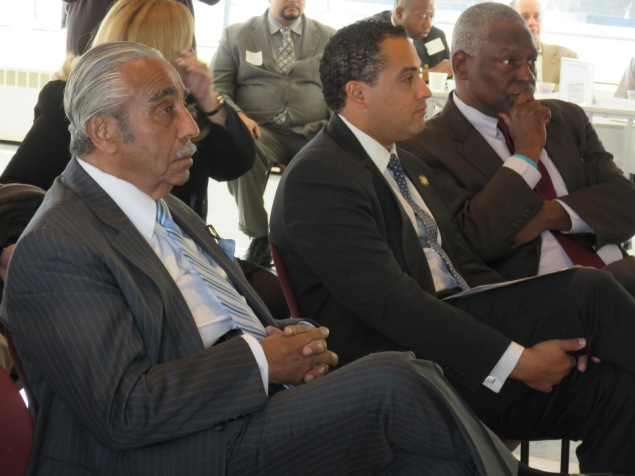 Keith Wright, right, with  Raymond Rodriguez and Charles Rangel (Photo: Will Bredderman).