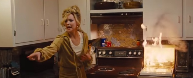 Jennifer Lawrence, in the well-known 'science oven' scene in American Hustle.