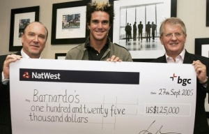 "BGC President Shaun Lynn (r) presents soccer star Kevin Pietersen with an oversized charity check. At left is Lee Amaitis, who ran bookmaking subsidiary, Cantor Gaming. In January, CG was hit with a ""record $5.5 million fine. Las Vegas Review Journalist John L Smith wondered how the head of ""Cantor Fitzgerald's boneheaded bookmaking subsidiary"" kept his job."