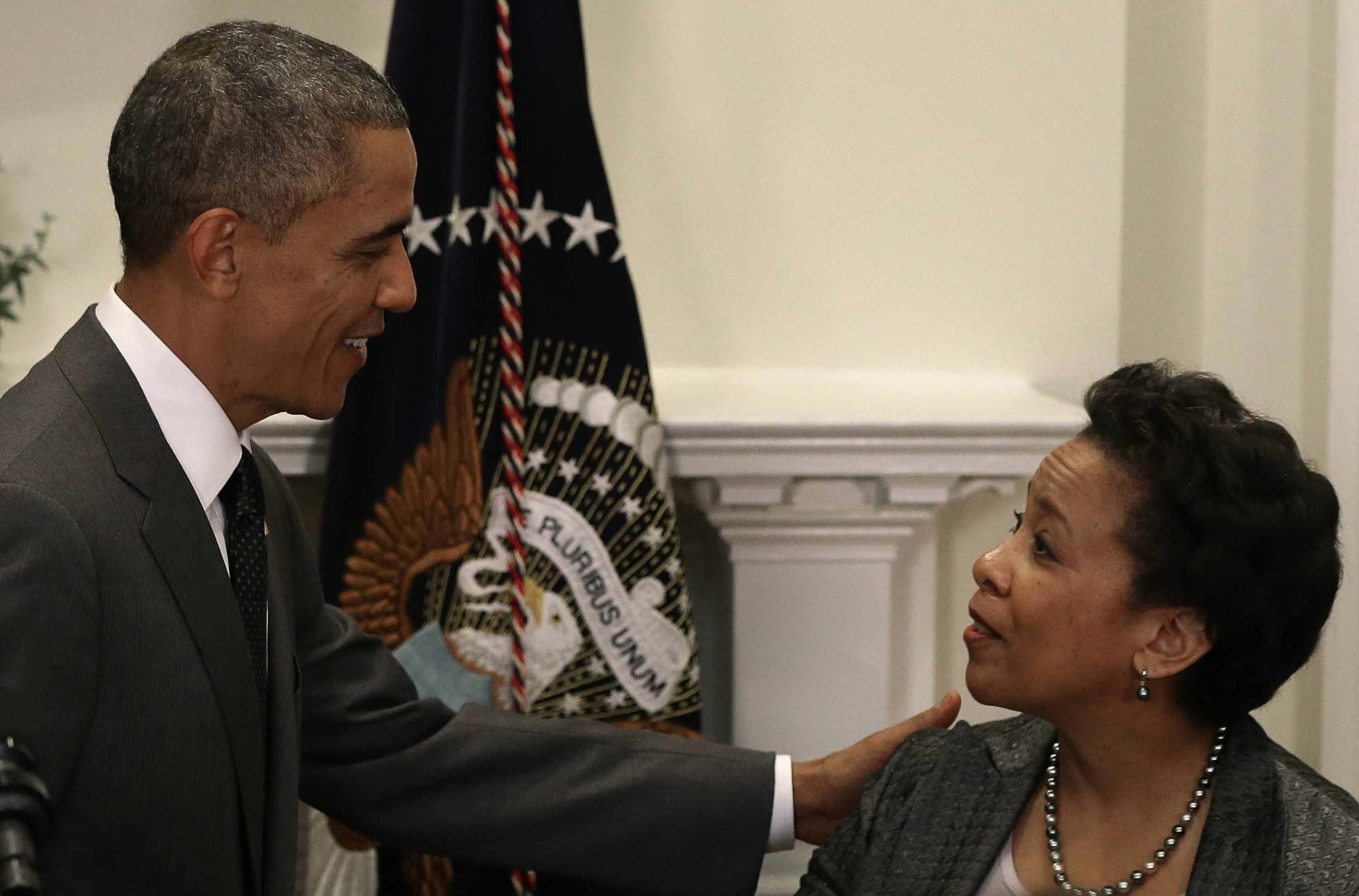 President Barack Obama and U.S. Attorney Loretta Lynch, who he has nominated to be Attorney General. (Photo by Win McNamee/Getty Images)