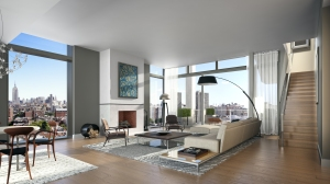 Living room with fireplace and view.
