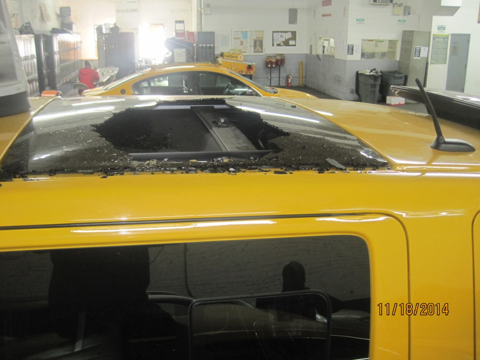 "The roof of a ""Taxi of Tomorrow"" shattered while driving around the city, spraying shards of glass upon the passengers."