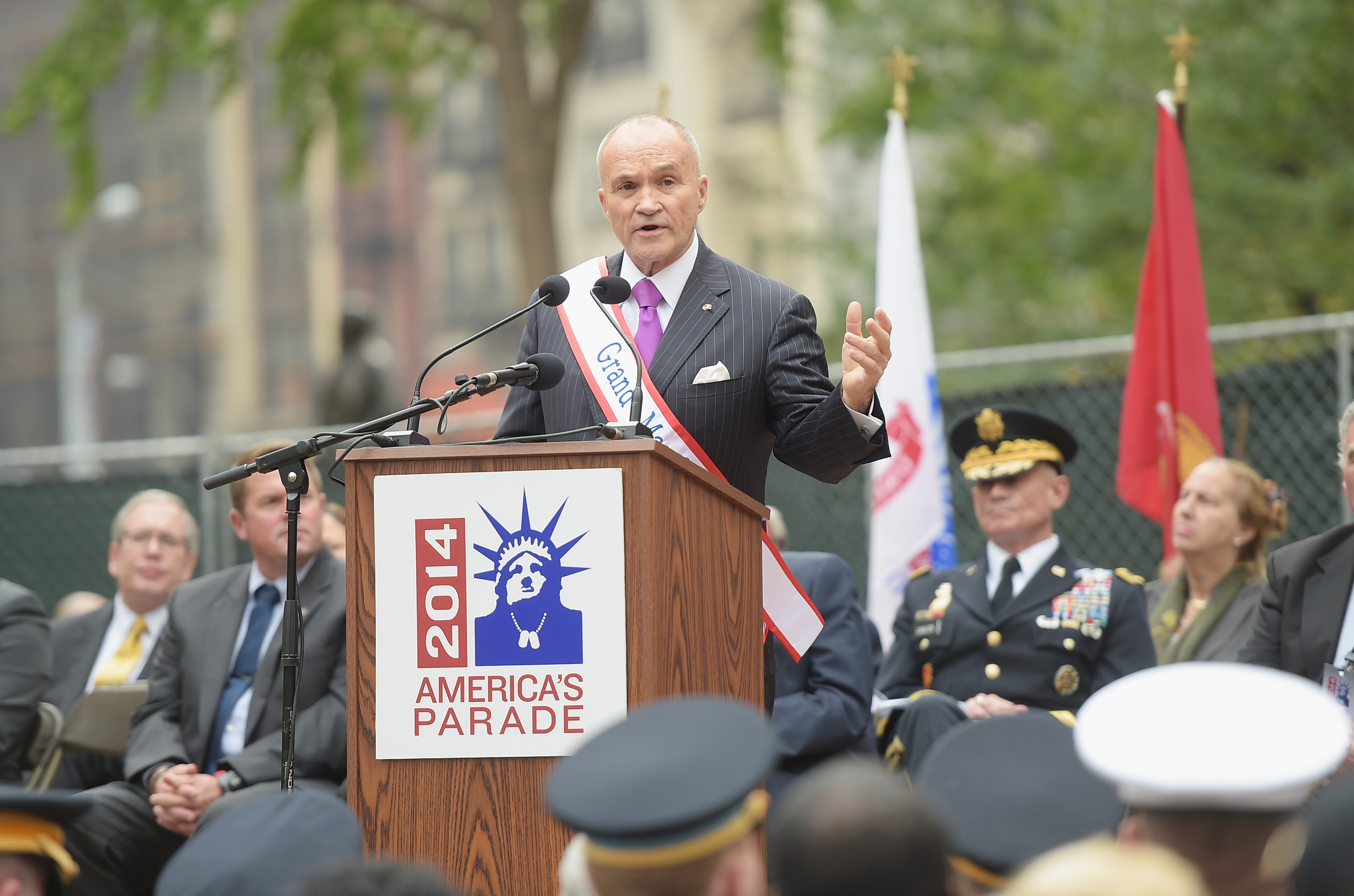 Former New York City Police Commissioner and parade Grand Marshal Raymond Kelly takes part in the opening ceremony preceding the annual Veterans Day Parade. (Photo by Michael Loccisano/Getty Images)