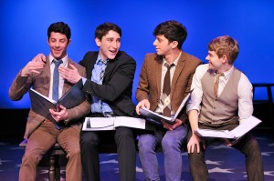 "(L-R) Matthew Bauman, Ben Fankhauser, Jeremy Greenbaum and Andrew Keenan-Bolger in the York Theater Company Musicals in Mufti presentation of Stephen Sondheim's ""Saturday Night."" Photo credit: Jenny Anderson."