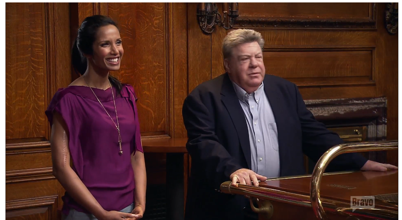 Padma and George Wendt in Cheers. (Screenshot: Bravo)