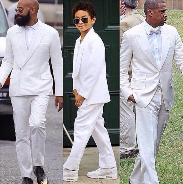 Groom Alan Foster, Solange's son Julez, and Jay Z all wore white to the ceremony. (Photo via instagram.com/beyonce)