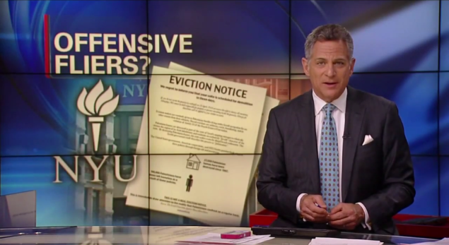 ABC News features 'eviction notices' slipped under the doors of NYU students. Some students felt the action was threatening and anti-Semitic. (Screenshot via YouTube)