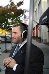 A media-trained Shmuley on the streets of Englewood, New Jersey (Kevin Sanders/New York Observer)