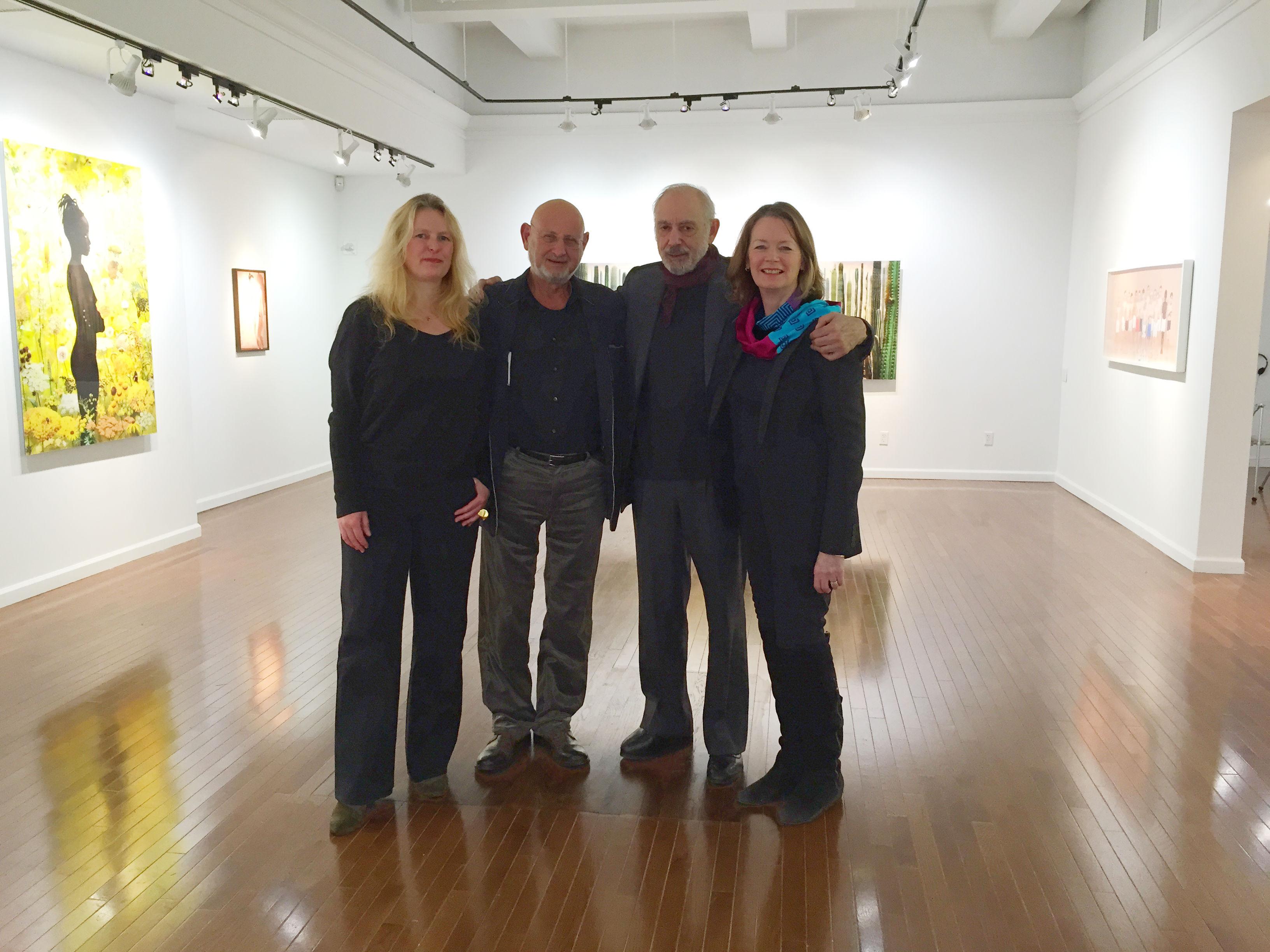 Andrea Schnabl, Stefan Stux, Stephen Haller, Cynthia Griffin Haller at Stux + Haller's new space on West 57th Street. (Photo by Alanna Martinez)