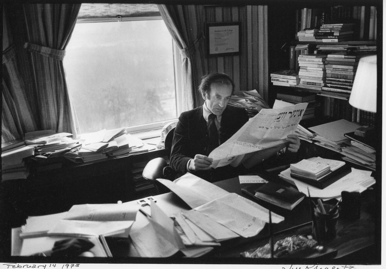 Elie Wiesel photographed by Jill Krementz on February 14, 1973 in his office on Cental Park West.