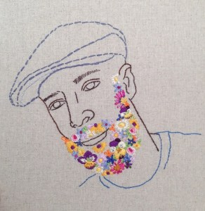 Rebecca Levi's embroidery portrait Flowerbeard from a show opening Friday at BGSQD. Photo courtesy of the artist.