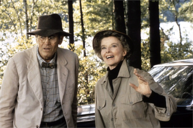 "Ms. Hepburn with Henry Fonda in ""On Golden Pond."""