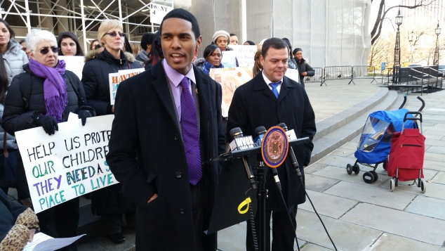Councilman Ritchie Torres speaks at today's press conference. (Photo: Ross Barkan)