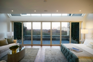 A terrace off the master bedroom overlooks the Park.
