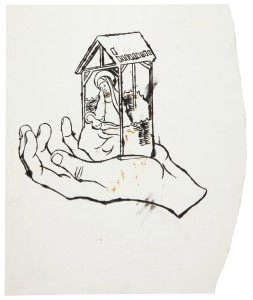 Madonna and Child ink on paper 17 7/8 x 15 in.  Drawn circa 1957. (Courtesy of Christies)