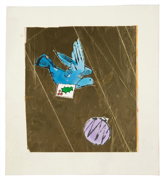 Bird and Ornament Ink and Dr. Martin's aniline dye and paper collage on board 10¼ x 11¼ in.  Drawn circa 1957. (Courtesy of Christies)