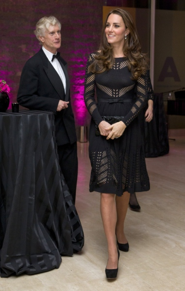 The Duchess in another loud lace frock. (Photo via Getty)