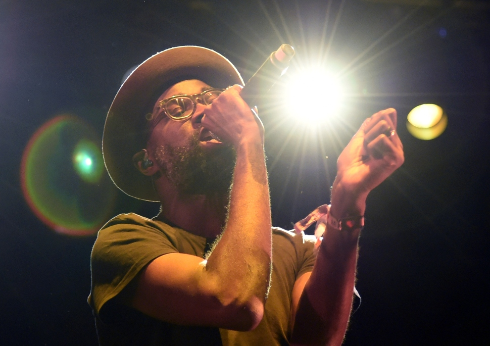 Tunde Adebimpe and TV on the Radio, pictured her in October at the Life is Beautiful festival in Las Vegas, earned a spot on the author's Top 10 list. (Ethan Miller/Getty Images)