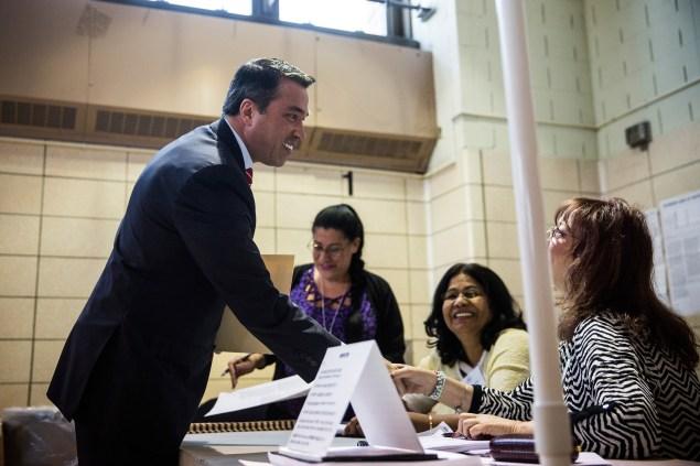 Congressman Michael Grimm votes in November. (Photo: Andrew Burton/Getty Images)