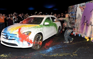 Mr. Brainwash attends the Mercedes-Benz Evolution Tour with Alabama Shakes and Young the Giant at The Barker Hangar on November 6, 2014 in Santa Monica, California, not far from where he's built a nice little portfolio of LA real estate.  (Angela Weiss/Getty Images)