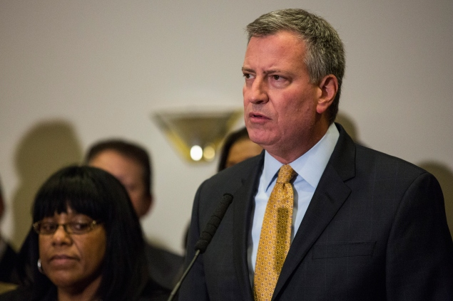 Mayor Bill de Blasio addresses the Eric Garner decision last week. (Photo: Andrew Burton/Getty Images)