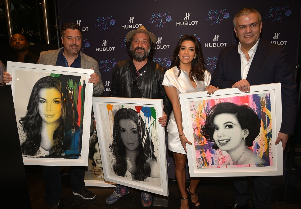MIAMI—Rick de la Croix, Mr. Brainwash, Eva Longoria and Ricardo Guadalupe attend Hublot Bal Harbour Presents: Time is Beautiful on December 5, 2014.  (Gustavo Caballero/Getty Images)