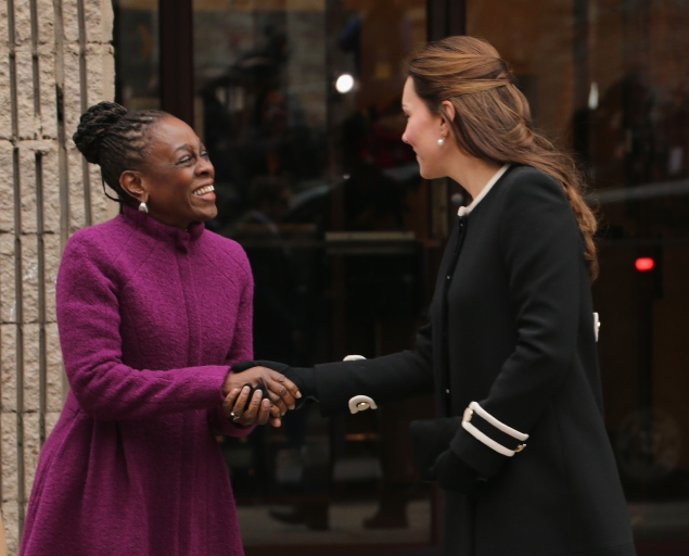 The Duchess looked fresh and young, but still classic, while meeting Chirlane McCray in her mod Goat coat. (Photo via Getty)