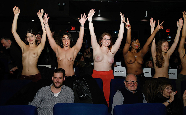 "Women supporting the film attend ""Free The Nipple"" New York Premiere at IFC Center. (Photo by John Lamparski/Getty Images)"