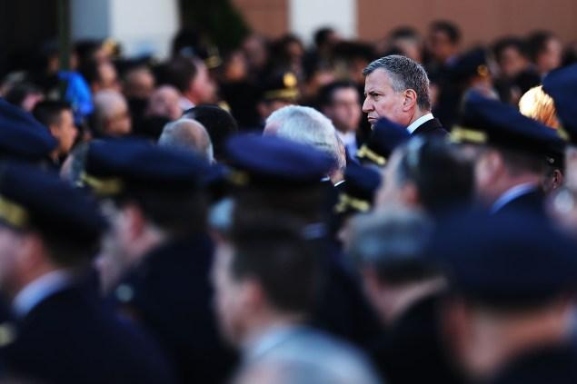 Mayor Bill de Blasio at the funeral for slain NYPD Officer Rafael Ramos. (Photo: Spencer Platt/Getty Images)