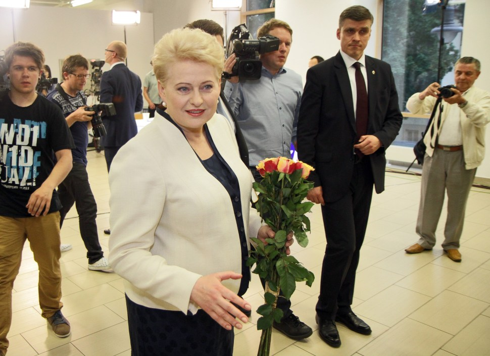 """President Dalia Grybauskaite, Lithuania's """"Iron Lady,"""" waits for the results of the presidential election in Vilnius on May 25, 2014. (PETRAS MALUKAS/AFP/Getty Images)"""