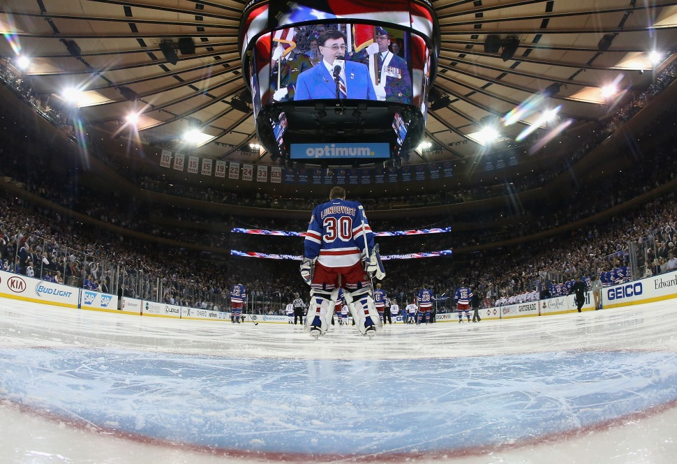 Rangers goalie Henrik Lundqvist looks on prior to the start of the game against the Montreal Canadiens during Game Six of the Eastern Conference Final in the 2014 NHL Stanley Cup Playoffs at Madison Square Garden on May 29, 2014.  (Bruce Bennett/Getty Images)