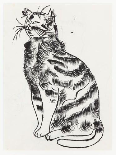 Andy Warhol, Seated Cat, (c. 1956). (Courtesy Andrew Edlin Gallery)