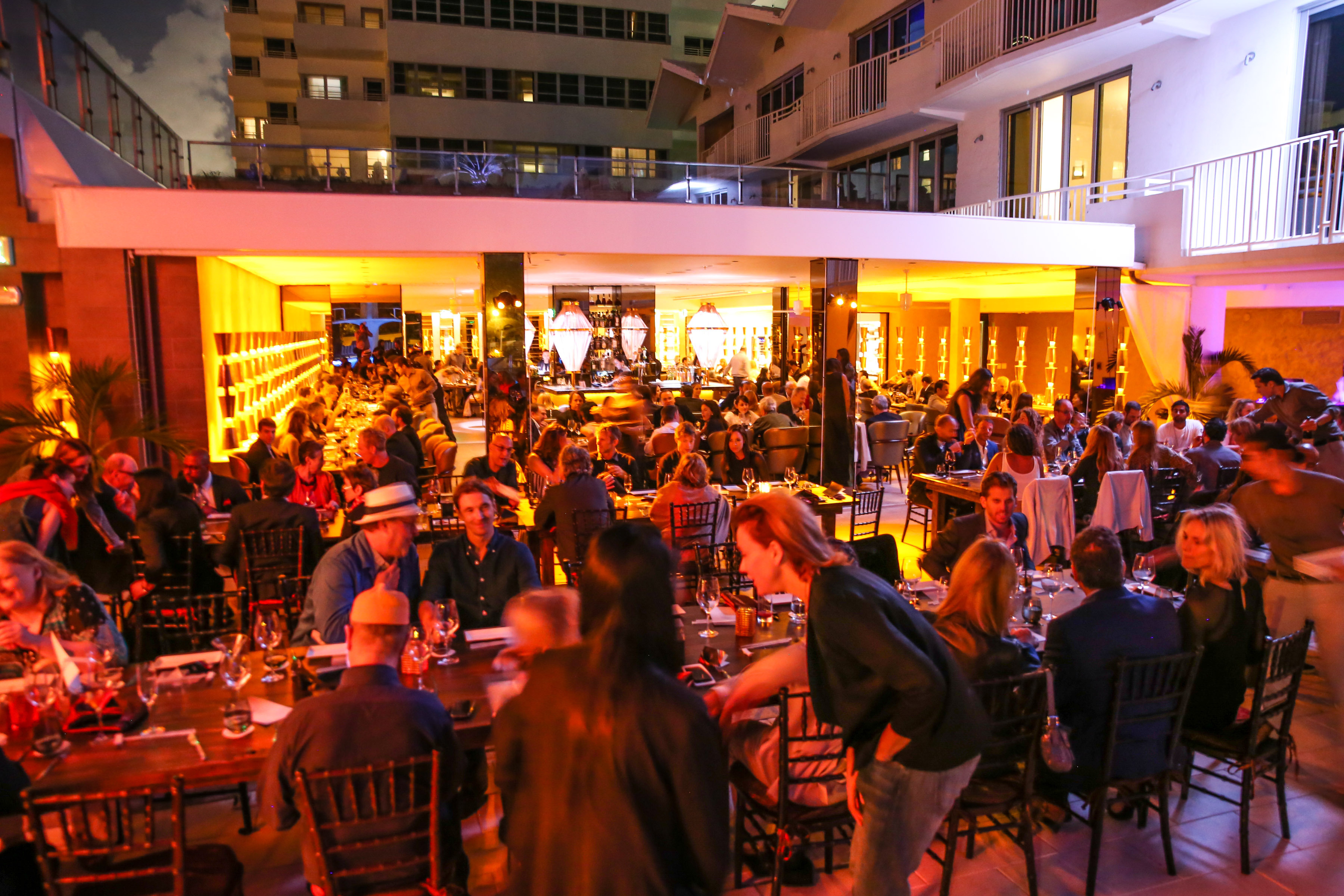 The atmosphere at the Shelborne Opening Dinner at Morimoto at Art Basel Miami Beach. (Courtesy Billy Farrell Agency)