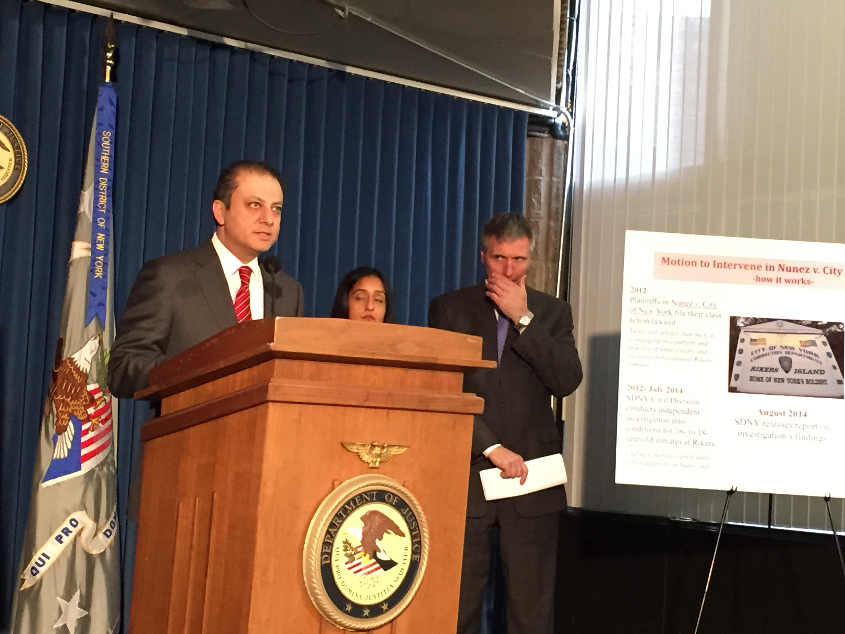 U.S. Attorney Preet Bharara announcing plans to join a lawsuit against the city. (Photo: Jillian Jorgensen)