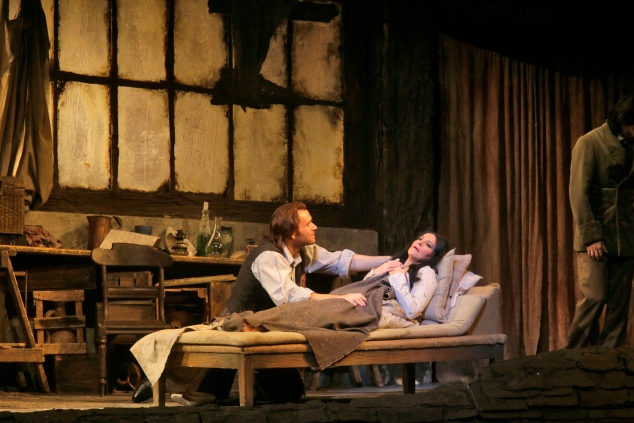Angela Gheorghiu as Mimì and Michael Fabiano as Rodolfo in Puccini's La Boheme. (Photo: Ken Howard/Metropolitan Opera)
