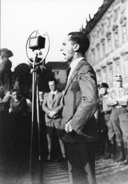 Nazi propaganda chief Joseph Goebbels speaking at a political rally against the Lausanne Conference in 1932. (German Federal Archive/Deutsches Bundesarchiv)