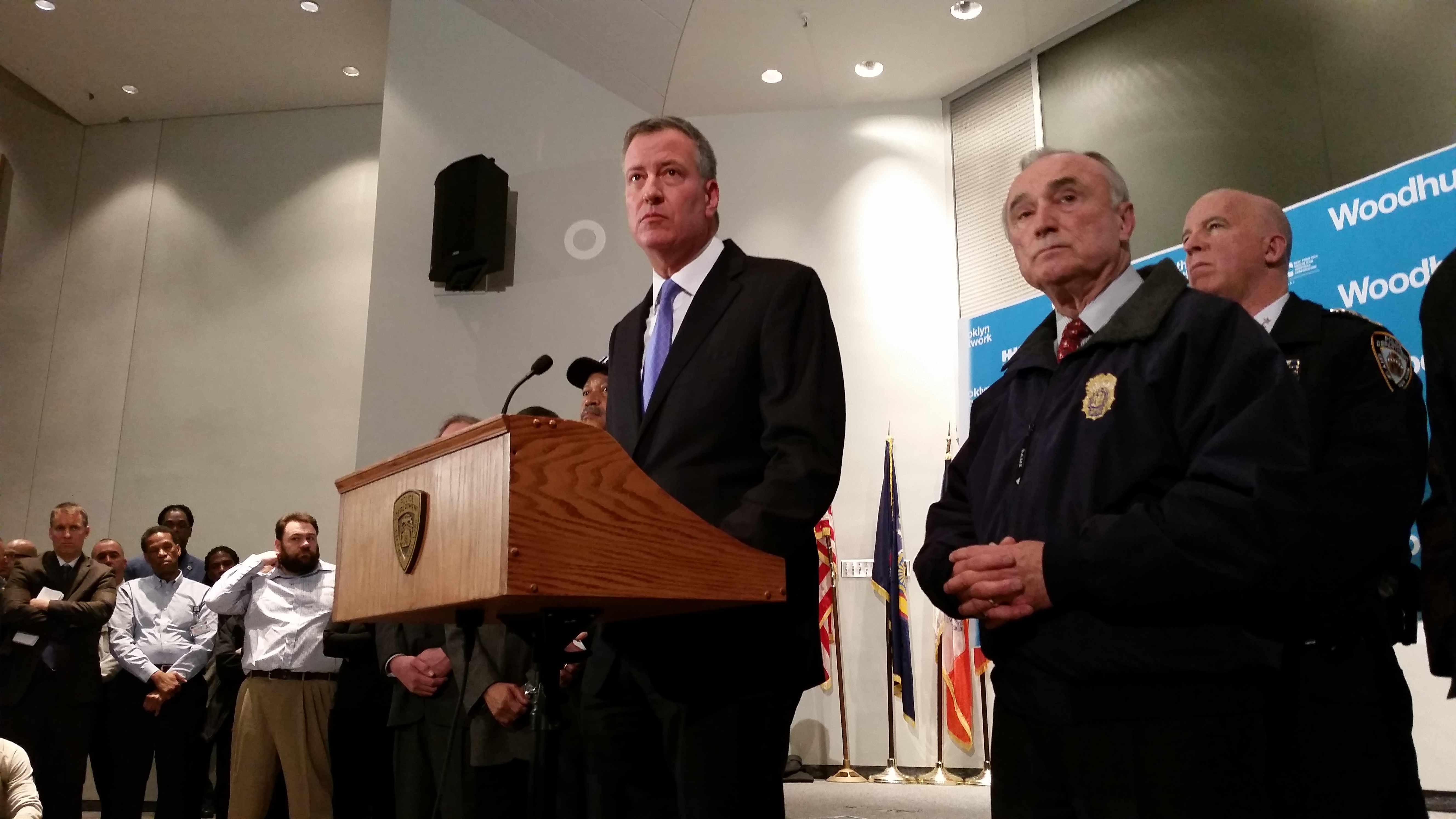 Mayor Bill de Blasio and Police Commissioner Bill Bratton tonight at Woodhull Medical Center in Brooklyn, where two police officers were pronounced dead. (Photo: Ross Barkan)