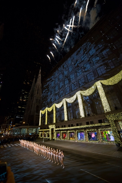 The Rockettes kicking off Saks' holiday windows. (Photo via Saks)