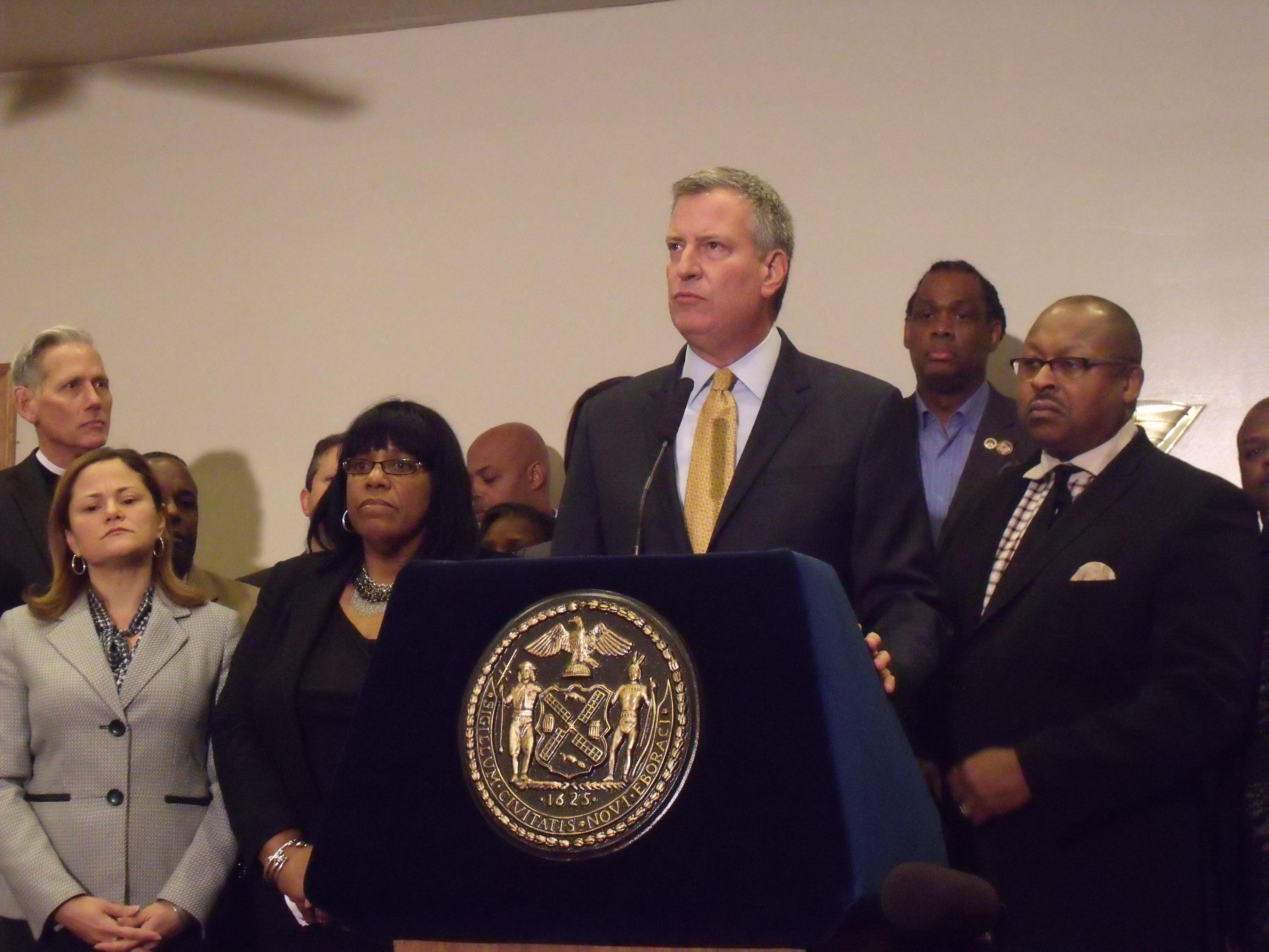 Mayor Bill de Blasio spoke tonight on Staten Island about the Eric Garner case. (Photo: Jillian Jorgensen)