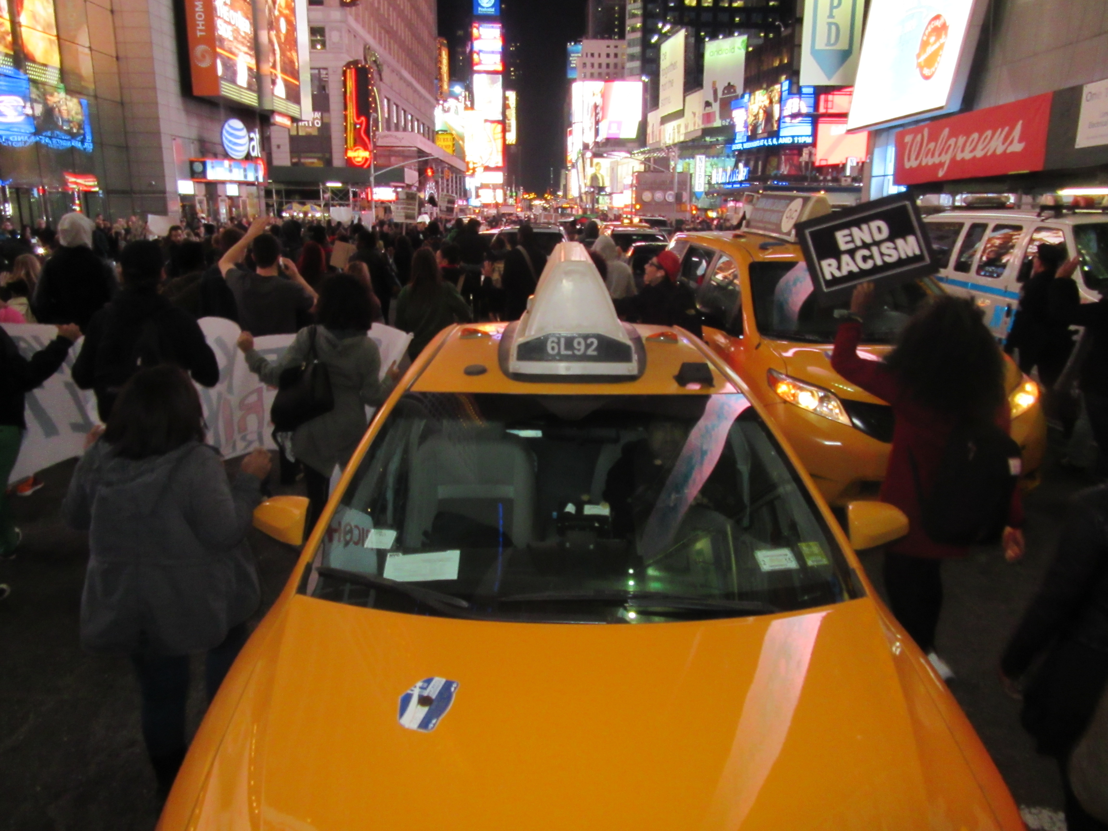 Police reform activists head up Seventh Avenue toward Times Square (Photo: Will Bredderman).
