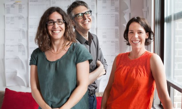 Serial's Sarah Koenig, left, with This American Life producer Ira Glass, and executive producer Julie Snyder. (Meredith Heuer/This American Life)